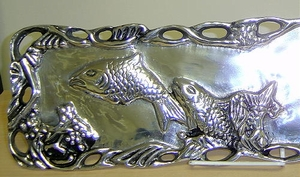On Sale-Pewter Handmade Nautical Platter Serving Tray Brand Wild Orchid