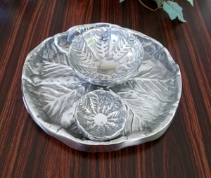 On Sale-Pewter Lettuce Platter With Snack & Dip Bowl Brand Wild Orchid