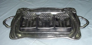On Sale-Pewter Palm Tree Metal 4 Piece Tray Platter Brand Wild Orchid