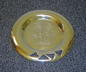 "On Sale-Pewter Round Palm Tree Serving Tray Platter 12"" Brand Wild Orchid"