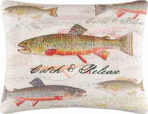 On The River Catch and Release Pillow 14 x18 Inches Brand C&F