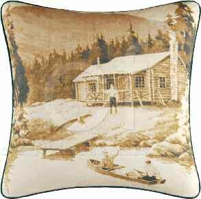 On The River Fishing Cabin Pillow 18 x18 Inches Brand C&F