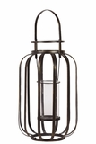 Open Design Metal Lantern in an Oblong Shape w/ Holder