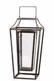 Open Panel Designed Metal Lantern w/ Holder