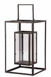 Open Panel Rectangle Shaped Metal Lantern w/ Holder