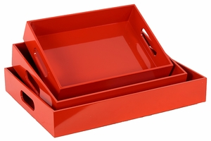 Orange Set of Three Exotic Wooden Sophisticated Trays by Urban Trends Collection
