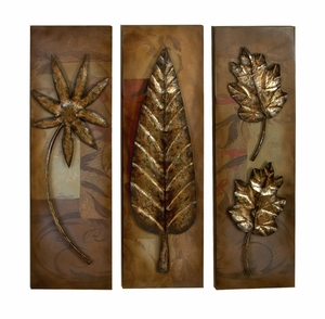 Orchid N Palm Leaf Metal Wall Decor Sculpture - Set of 3 Brand Woodland