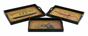 Orient Express Wood Serving Tray Hand Painted Brand Woodland
