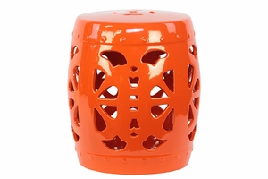 Oriental and Stylish Orange Garden Ceramic Stool by Urban Trends Collection