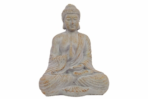Oriental Sitting Empathetic White Cement Buddha by Urban Trends Collection