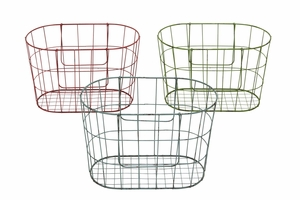 French Metal Wire Assorted Basket Set of 3 - 34918 by Benzara
