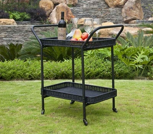 Outdoor Black Water-Resistant Wicker Patio Furniture Serving Cart Brand Zest