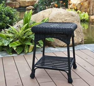 Outdoor Black Wicker Patio Furniture End Table with Steel Frame Brand Zest