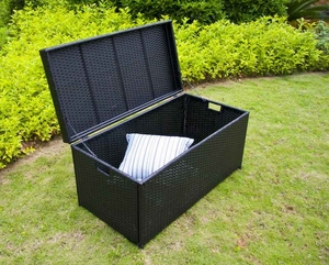 Outdoor Black Wicker Patio Furniture Storage Deck Box with Tray Brand Zest