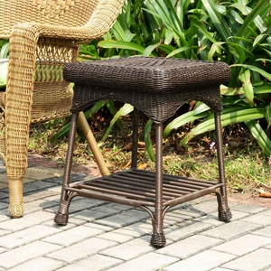 Outdoor Espresso Water-Resistant Wicker Patio Furniture End Table Brand Zest
