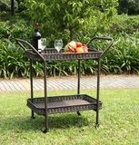 Outdoor Espresso Wicker Patio Furniture Serving Cart with Tray Brand Zest