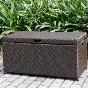 Outdoor Espresso Wicker Patio Furniture Storage Deck Box Brand Zest