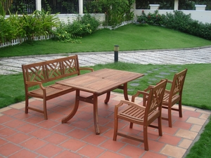 Outdoor Eucalyptus Dining Set with Bench, 2 Chairs, and Table by Vifah
