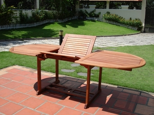 Outdoor Eucalyptus Oval Extention Table with Foldable Butterfly by Vifah