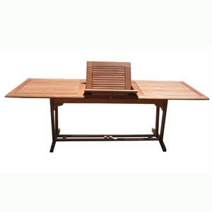 Outdoor Eucalyptus Rectangular Extention Table with Foldable Butterfly by Vifah