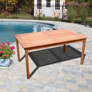 Outdoor Eucalyptus Rectangular Table by Vifah