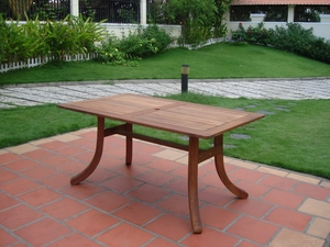 Outdoor Eucalyptus Rectangular Table with Curvy Legs by Vifah