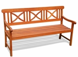 Outdoor FSC Eucalyptus Bench X-Back Design by Vifah