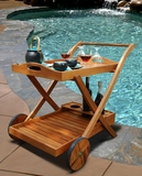 Outdoor FSC Eucalyptus Serving Cart by Vifah