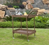 Outdoor Honey Water-Resistant Wicker Patio Furniture Serving Cart Brand Zest