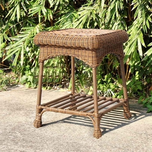 Outdoor Honey Wicker Patio Furniture End Table with Steel Frame Brand Zest