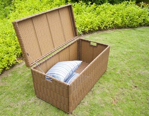 Outdoor Honey Wicker Patio Furniture Storage Deck Box with Tray Brand Zest