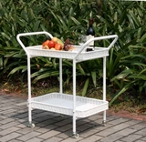 Outdoor White Water-Resistant Wicker Patio Furniture Serving Cart Brand Zest