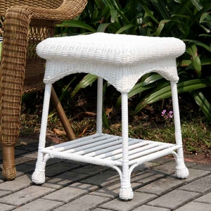 Outdoor White Wicker Patio Furniture End Table with Steel Frame Brand Zest