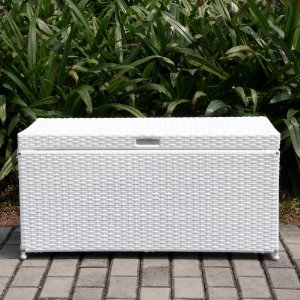 Outdoor White Wicker Patio Furniture Storage Deck Box with Tray Brand Zest
