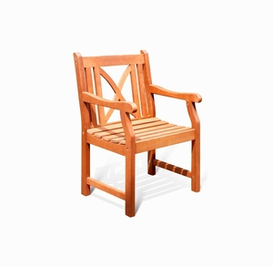 Outdoor Wood Arm Chair X-Back Design by Vifah