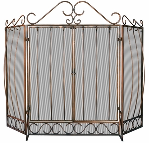 Outstanding Fold Venetian Bronze Screen With Bowed Bar Scrollwork