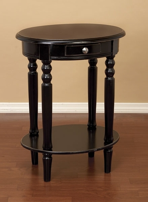 Oval Black Wood Phone Table With Drawer Accent Tables Brand Woodland
