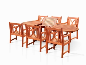 Oval Extension Table & Wood Arm ChairOutdoor Dining Set 17