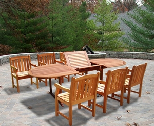 Oval Extension Table & Wood Armchair Outdoor Dining Set by Vifah
