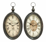 Oval Shaped Sophisticated Assorted Metal Wall Clock - Set of 2 Brand Woodland