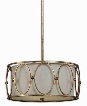 Ovala 3 Light Drum Pendant Lamp With Antiqued Gold Leaf Metal Brand Uttermost
