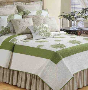 Oversized King Quilt - Luxury Clean And Modern Willow Sage Bed Brand C&F