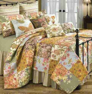Oversized Queen Quilt - Arden Luxury Quilt With Autumn Flowers Brand C&F
