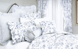 Oversized Queen Quilt - Brighton Toile Blue Garden Luxury Bedding Brand C&F