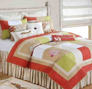Oversized Queen Quilt - Sandpiper Cove Quilt With Charming Sea Life Brand C&F