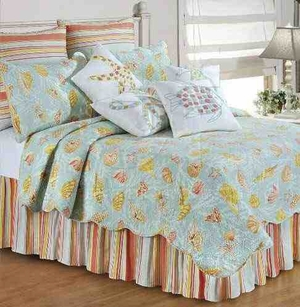 Oversized Queen Quilt - St. Martin Blue Quilt With Colorful Sea Life Brand C&F