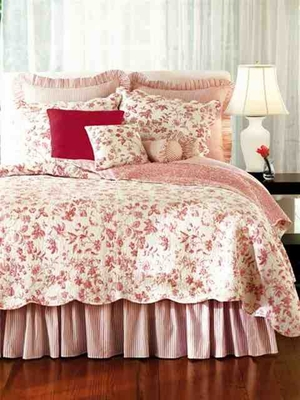 Oversized Twin Quilt - Brighton Toile Red Rose Luxury Bedding Brand C&F