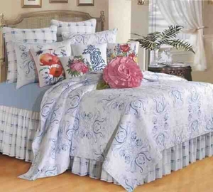 Oversized Twin Quilt - Delicate Blue Veranda Style Bedding Brand C&F