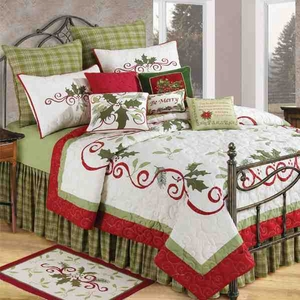 Oversized Twin Quilt - Holiday Garland Quilt With Ribbon And Holly Brand C&F