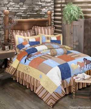 Oversized Twin Quilt - Luxury Bedding With Wild Running Horses Brand C&F